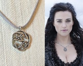 SALE! Morgana Pendragon Sterling Silver Celtic Knot Necklace Pendant Gray Leather Suede- n658