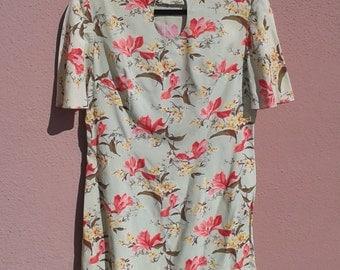 Vintage Floral Mini Hippie Handmade Short Dress Green Red Pink Yellow Size 36 Small Medium