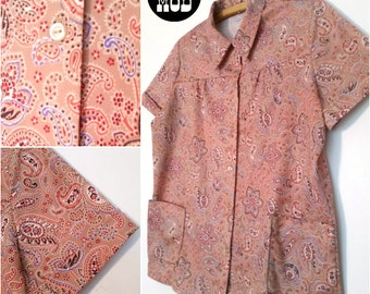 Beige and Lavender Paisley Vintage 60s 70s Top Blouse Shirt - Billowy Boho Vibe!