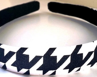 Black White Houndstooth Headband 3/4 Inch