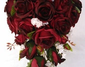 Dark Red, Burgundy Black Tip Silk Roses, Blush Roses, Ivory Roses  Cascading / Teardrop Wedding Bridal Bouquet