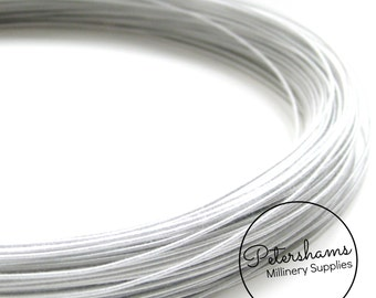 0.8mm (40 Gauge) Cotton Covered Millinery Wire (For Hat Making, Flower Making) - White