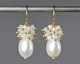 Pearl and Gold Earrings - Pearl and Gemstone Earrings - Cubic Zirconia Earrings - Earrings for Bride - Special Occasion Jewelry - Gift