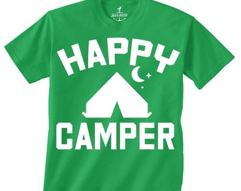Happy Camper -- Kids T shirt -- toddler youth boys birthday party ideas Camping theme Size 2t, 3t, 4t, youth xs, yth sm, skip n whistle