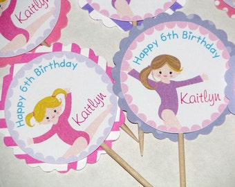 Gymnastics Cupcake Toppers Pinks and Purple - Tumble Party Cupcake Toppers