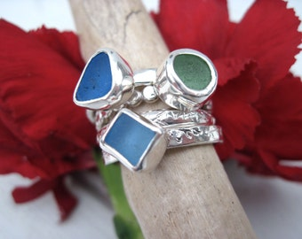 Sea Glass Ring - 3 Stacking Rings With Textured Sterling - Artsy Sophistication