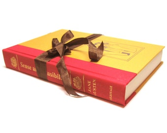 Sense and Sensibility by Jane Austen, The Heritage Press Boxed Edition, Vintage Book,  Mustard and Red Book Decor