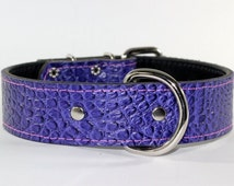 Purple Collar - Purple Leather Collar With Pink Sticthing - Purple Leather Dog Collar - Leather Dog Collar With Nickel Hardware