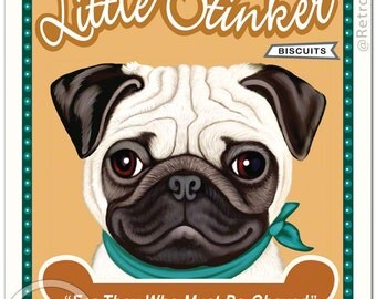 """8x10 Pug Art - Little Stinker Biscuits """"For They Who Must Be Obeyed""""  -  Art print by Krista Brooks"""