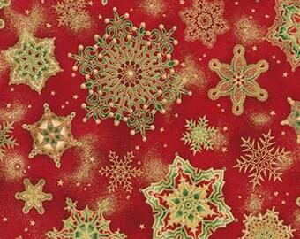 Robert Kaufman - Holiday Flourish 8 - Snowflake Medallions w/ Metallic Gold - Crimson - Fabric by the Yard APTM1515191
