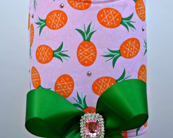Dog Harness, Pineapple with Bling - Limited Edition