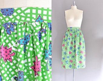vintage 1950s skirt • 50s novelty print skirt • pique skirt • large