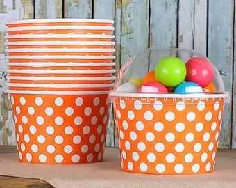 Large Polka Dot Orange Ice Cream Cups with Lids, Orange Ice Cream Bowls, Paper Ice Cream Cups, Large Brownie Sundae Cups (8 oz  - 18 ct)