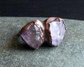 Rough Amethyst Ring Rough Stone Jewelry Raw Crystal Dual Stone Size 7 Ring February Birthstone Ring Copper Gemstone Ring