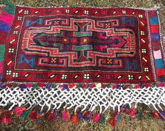 "SALE: Big beautiful sequin trimmed Tribal Khurjeen Saddle Bag. Hand Made. Kilim. Cushion/pillows. 3 ft 4"" x 1 ft 8""."