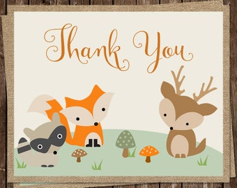 Forest Animals, Thank You Cards, Baby Shower, Birthday, Owl, Fox, Bunny, Gender Neutral, 24 Folding Notes, FREE Shipping, WOFGN, Woodland