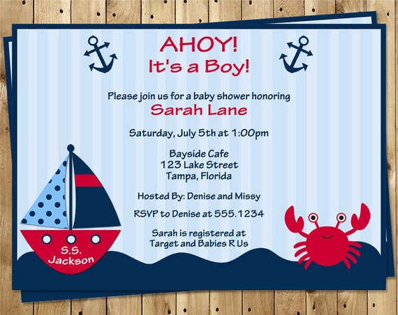 Nautical, Baby Shower Invitations, Ahoy It's a Boy, Crab, Red, Boat, Anchor, Stripes, 10 Printed Invites, FREE Shipping, AIBRC, Custom
