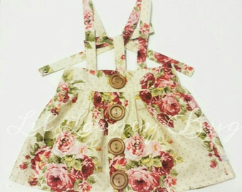 High Waisted Suspender Skirt -Vintage Tan Floral - Baby Toddler Girl -Ties in Back - Adjustable - Mod Trendy - Fall Winter Family Pics