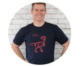 Dinosaur TShirt, Men's Cotton Crewneck, RAWR, Navy Blue, Gift For Men, T Shirt, Graphic Tee, Screenprinted By Hand, Short Sleeved, Dino