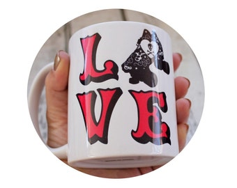 LOVE Roller Derby 11 oz Coffee Cup, Standard Diner Sized Mug, Hot Beverage, Tea, Roller Skater, Skull and Crossbones, Roller Skate, Red
