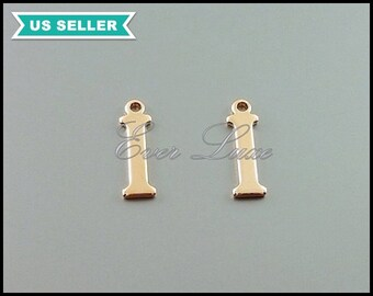 4 rose gold plated brass, letter i pendants, initial i charms, monogram / ID / name / initial, scrapbooking supplies 1907-BRG-I