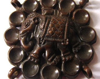 ANTIQUE ELEPHANT BROOCH Repousse Thai Elephant Brooch Art Jewelry Brooch Medallion Amulet Pendant