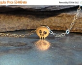 BACK to SCHOOL SALE 14k Gold Filled and 16k Gold Vermeil Sterling Silver 925 Teeny Tiny Baby Skull Sugar Necklace Halloween Goth Teen Teenag