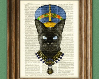Queen Nefertiti the black Pharaoh Cat rules Egypt with her poise illustration beautifully upcycled dictionary page book art print