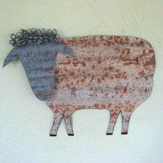 Metal Wall Decor Animals : Sheep art rustic metal folk recycled wall sculpture
