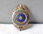 Vintage Security Badge - Official Metal Badge - College Security Officer Badge - Blackinton enamel badge