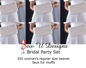 Bridal party set of SIX woman's beaver faux fur hand muffs winter wedding hand warmers