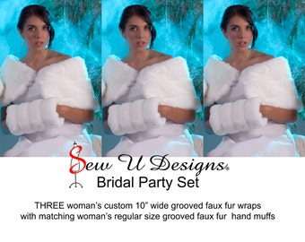 """Bridal Party set of THREE custom woman's 10"""" wide faux fur wraps with matching hand muffs Winter wedding shawls shrugs"""
