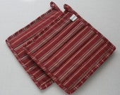 Quilted Hot Pot Holder and Trivet - Raspberry Red, Green, and Tan Stripe
