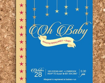 DIY Starry Night Baby Shower Design (Printable Wedding, Baby Shower, or Birthday Invitation)
