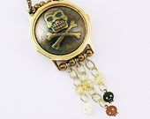 Steampunk Watch Necklace Skull and Crossbones Gold Bronze Vintage