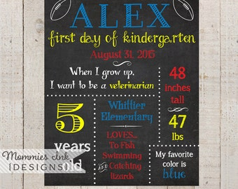 Printable Chalkboard First Day of School Sign - Primary Colors