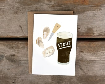 Stout + Oysters A6 Card with Kraft Envelope