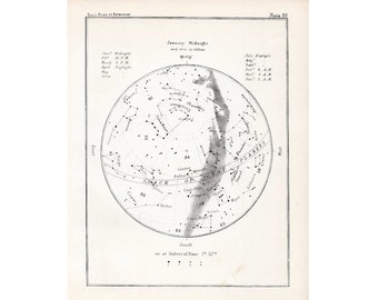 1892 JANUARY STARS LITHOGRAPH print original antique star map celestial astronomy lithograph
