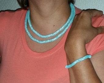 Crochet necklace and Bracelet