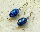 Blue Cloisonne and Moonstone Silver Plated Earrings
