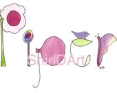 Custom Watercolor Name Painting, Personalized Name Art, Flowers, Butterflies, Ladybugs, Balloons, Birds, Nursery Wall Decor, Piper, Sofia
