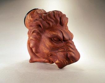 Lion Sculpture Drinking Horn Beer Mug,  Regal Costume Mug, Renaissance, Fantasy Festival LARP Gamers, Cosplay, Leo Gift, Handcrafted Art Mug