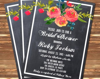 Floral Bridal Shower Wedding Invitation Chalkboard Printable Navy Blue Pink - Stick to Your Story