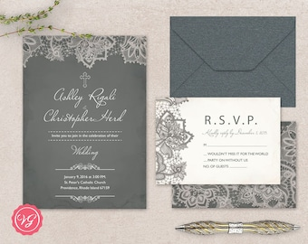 DIY Christian Wedding Invitation & RSVP Kit - Vintage Grey With Lace Marriage Invitations Crucifix - Printable Invitation Template