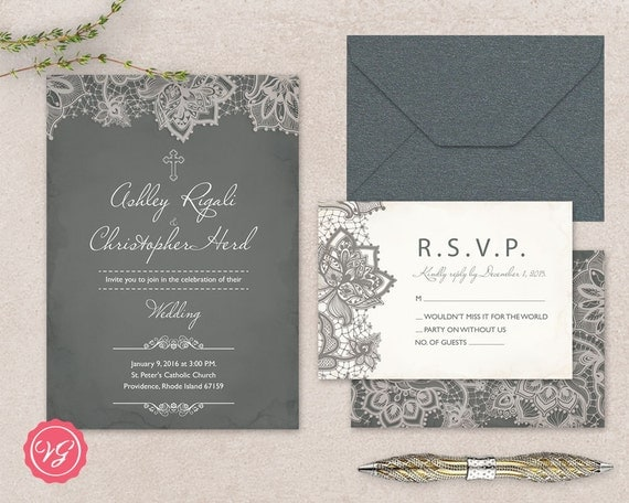diy christian wedding invitation  rsvp kit vintage grey, invitation samples