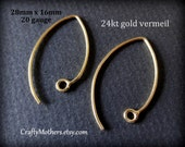 Use TAKE10 for 10% off! 2 Pairs Bali 24kt Gold Vermeil Elven-style Earwires, 28mm x 16mm, 20 gauge, 4 pieces, Artisan-made jewelry supplies