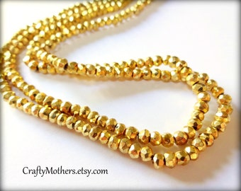 BRIGHT GOLD Pyrite Faceted Rondelles, 3.5mm, 1/4 strand (3.25 inches), gold metallic, sparkly, unique jewelry supplies, beads