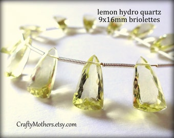29% SALE! (Code: FROSTY) AAA Lemon Quartz Faceted Pyramid Briolettes, (1) Matched Pair, 9mm x 16mm, neutral, pale yellow