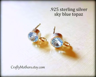 PREORDER, Sky BLUE TOPAZ Gemstone and Sterling Post Earrings w/ backings (4mm) - 1 Pair (2 pieces), December birthstone, wedding, bridal