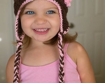 Kids Crochet Hat: Lovely Bear w/ Earflap - Free Shipping